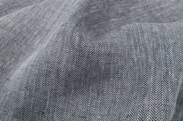 Black / white linen fabric in herringbone pattern 1