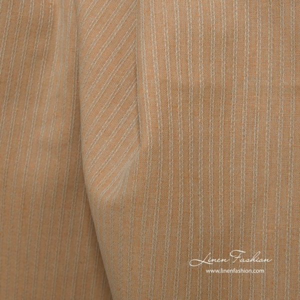 Linen cotton light brown fabric with decorative stripes 1