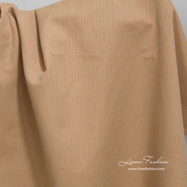 Linen cotton light brown fabric with decorative stripes 2
