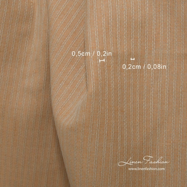 Linen cotton light brown fabric with decorative stripes 3