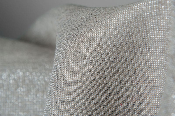 Grey linen fabric with silver glitter 2