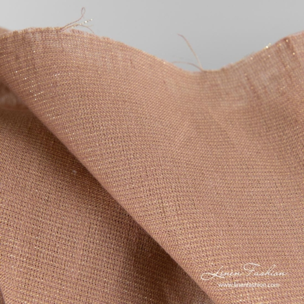 Brown shiny linen fabric 3