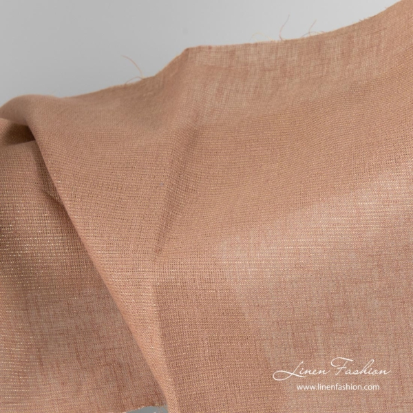 Brown shiny linen fabric 4