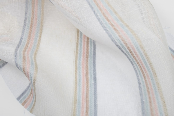 Gauze off - white linen fabric with coloured stripes 1