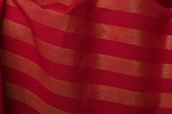 Red shiny linen blend fabric 1