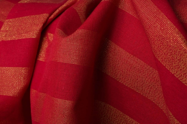 Red shiny linen blend fabric 2