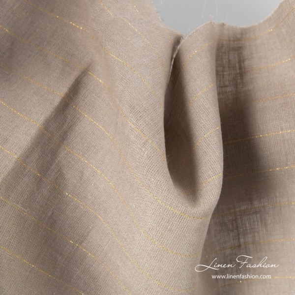 Gray linen fabric with golden stripes 1