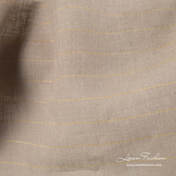 Gray linen fabric with golden stripes 3