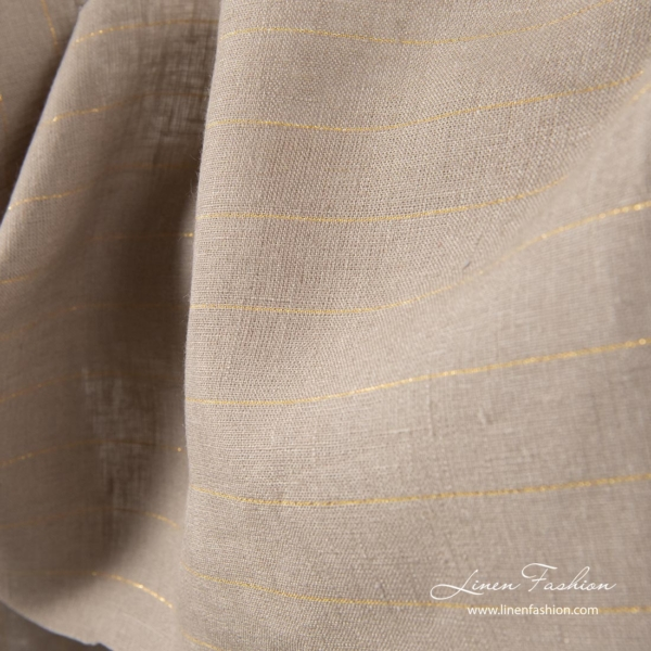 Gray linen fabric with golden stripes 2