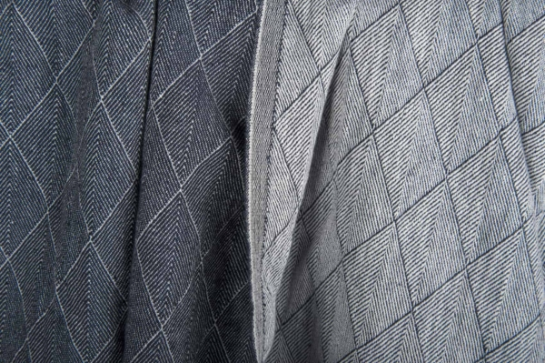 Blue double-sided patterned washed linen fabric 1