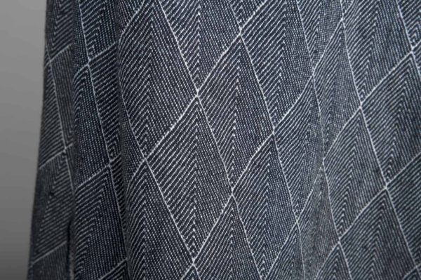 Blue double-sided patterned washed linen fabric 2