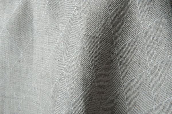 Grey double-sided linen fabric in a diamond pattern 1