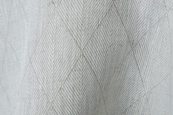 Grey double-sided linen fabric in a diamond pattern 2