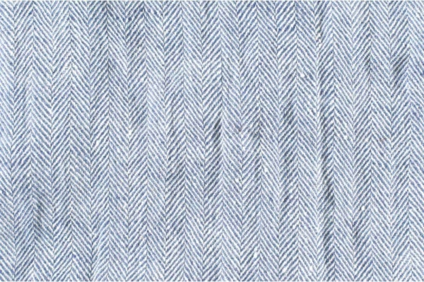 Blue and white washed linen fabric in herringbone 1