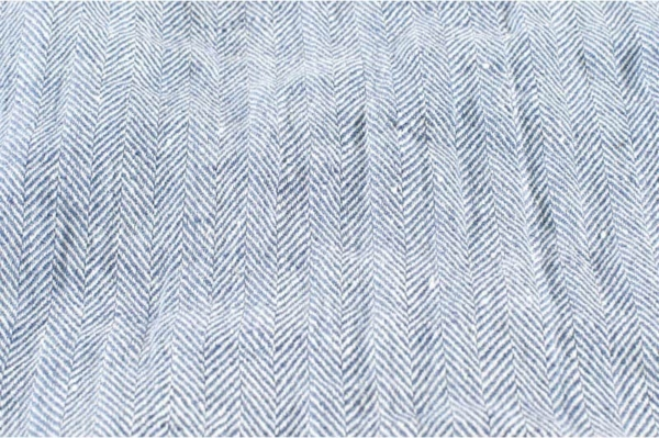 Blue and white washed linen fabric in herringbone 2