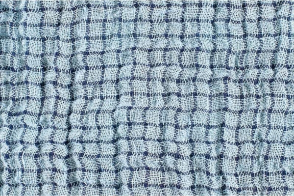 Blue washed two sided linen fabric 2