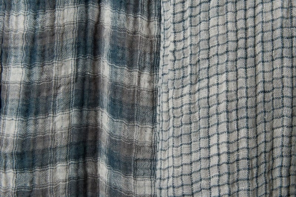 Washed double sided linen fabric in grey checks 1