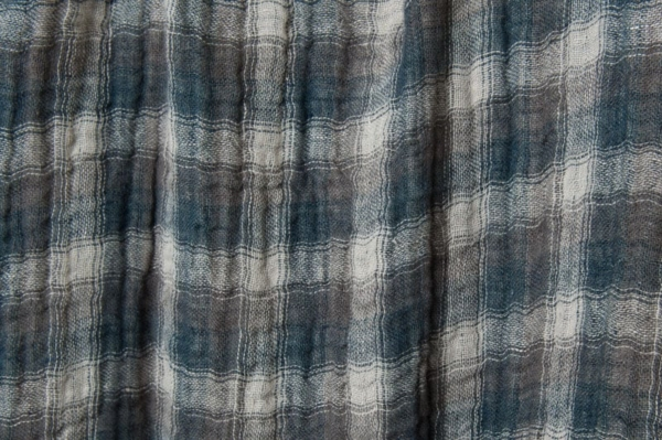 Washed double sided linen fabric in grey checks 2