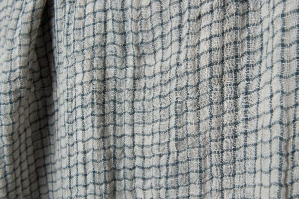 Washed double sided linen fabric in grey checks 3