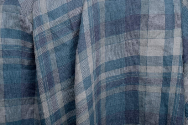 Blue plaid linen fabric, washed 1