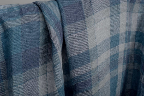Blue plaid linen fabric, washed 2