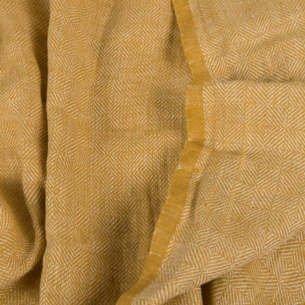 Yellow patterned linen fabric, washed 1