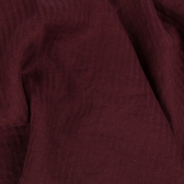 Wine red patterned linen fabric, washed 1
