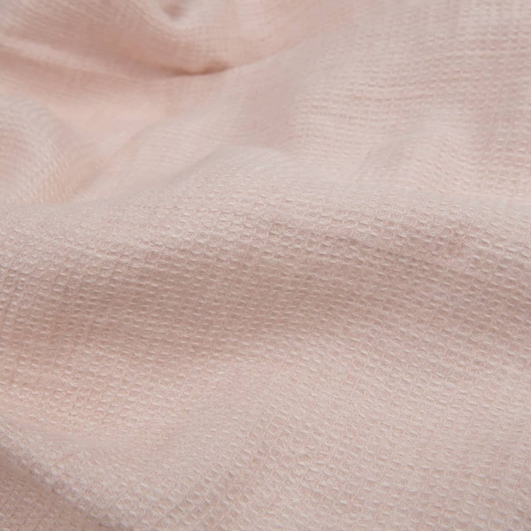 Pale pink ,waffle, linen fabric, washed 1