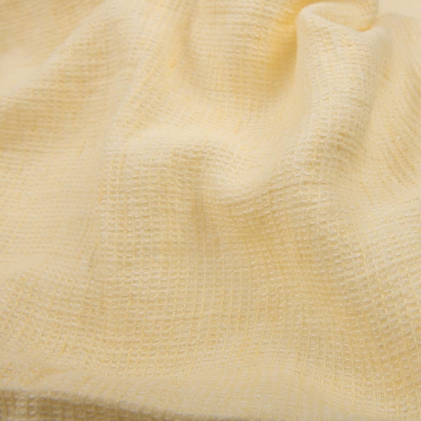 Pale yellow ,waffle, linen fabric, washed 1