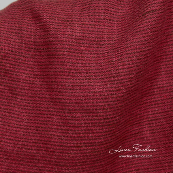 Washed patterned red linen fabric 1