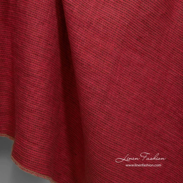 Washed patterned red linen fabric 2