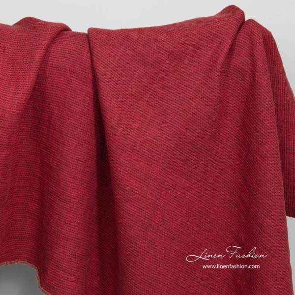 Washed patterned red linen fabric 3