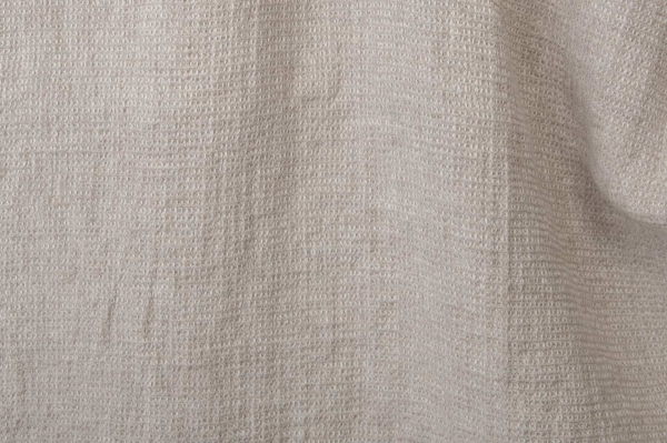 Checked light grey washed linen fabric 1