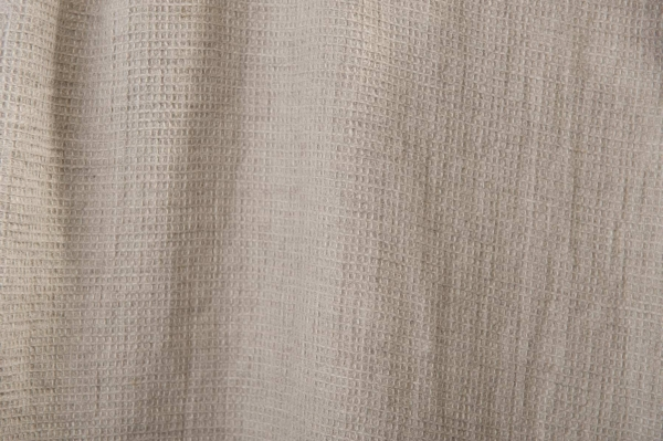 Washed grey linen fabric in a small check pattern 1