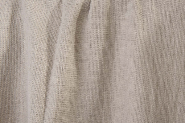 Washed grey linen fabric in a small check pattern 2