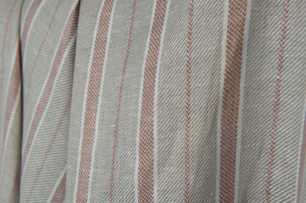 Grey, brown and white striped linen fabric 1