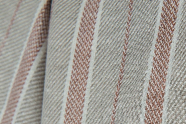 Grey, brown and white striped linen fabric 2