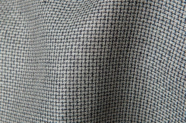 Checked linen fabric in black and grey 1