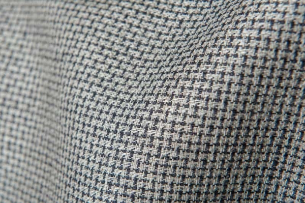 Checked linen fabric in black and grey 2