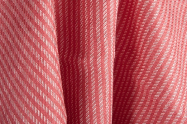 Red striped pure linen fabric 1