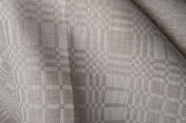 Grey linen fabric in checks 1
