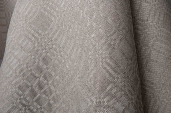 Grey linen fabric in checks 2
