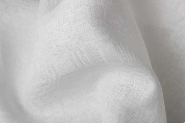 Checked off-white linen fabric 1