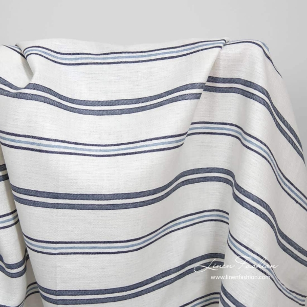 White linen fabric with blue stripes 1
