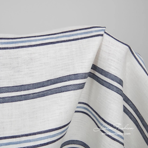 White linen fabric with blue stripes 2