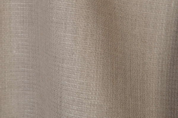 Checked linen fabric in grey (natural flax) colour 2