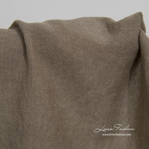 Wide washed brown grey linen cotton fabric 1