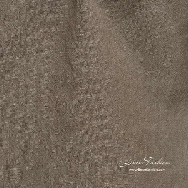 Wide washed brown grey linen cotton fabric 2