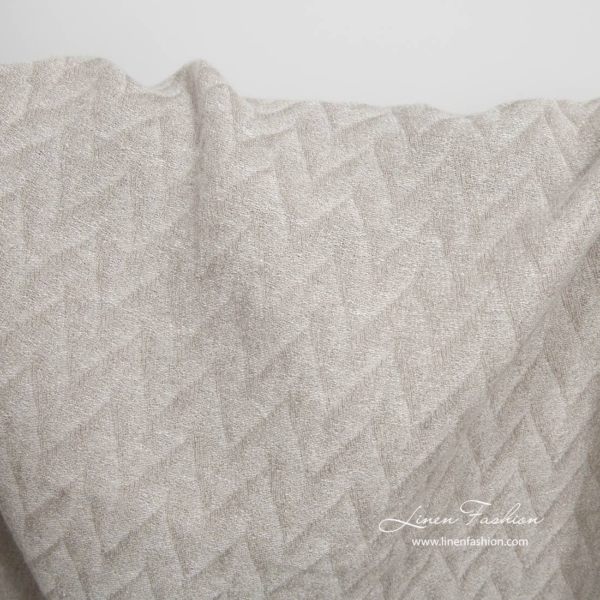 Light grey zig zag pattern linen fabric, washed 1