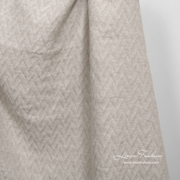 Light grey zig zag pattern linen fabric, washed 2